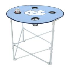 Collapsible Round Table with Drink Holders