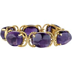 Verdura, Pebble bracelet in 18k yellow gold, composed of six baroque-shaped, cabochon-cut amethysts