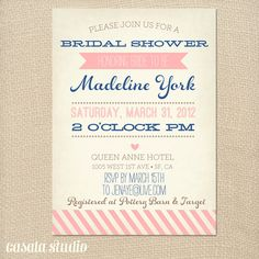 Vintage Bridal Shower Invitation Baby Shower Invite Coral and Turquoise Printable OR Printed Card