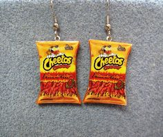 Cheetos Flamin Hot Kitsch Dangle Polymer Clay Junk by craftymule from craftymule on Etsy. Saved to Epic Wishlist. Weird Jewelry, Cute Jewelry, Jewelry Accessories, Jewelry Design, Unique Jewelry, Funky Earrings, Drop Earrings, Earrings Handmade, Kitsch