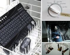 14 Home Hacks for Your Dishwasher ranging from cleaning your keyboard to washing potatoes to shining up your hubcaps. Uuuh I think I would rely on common sense.