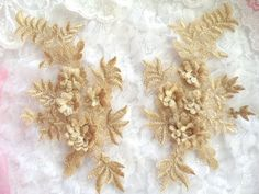 3D Embroidered Appliques Gold Beige Floral Venice Lace Mirror Pair 8.25  Appliques can be used to adorn any costume or evening gown, including bridal gowns.  Other uses for our appliques are crafts and sewing projects of all kinds.  You will also find our products used in Home Decor.  Used by so many because of the ease of application. Simply sew or glue on.  Add to our appliques sequins or rhinestones if you want a little sparkle or bling.  These appliques have a beautiful shine and are so…