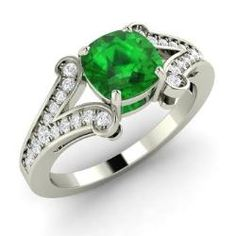 Emerald and Diamond  Ring in 14k White Gold (0.95 ct.tw.) - Balint