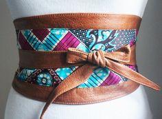 Tan Leather Ankara Wax Print corset Obi Belt  Corset by LoveYaaYaa