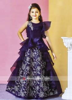 Kids Satin Silk Layered Dress for Party Girls Frock Design, Long Dress Design, Baby Dress Design, Gowns For Girls, Frocks For Girls, Dresses Kids Girl, Indian Dresses For Girls, Kids Indian Wear, Kids Party Wear Dresses