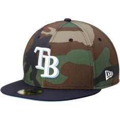 Tampa Bay Rays New Era 2-Tone Basic Woodland Camo 59FIFTY Fitted Hat - Camo/Navy - $27.99