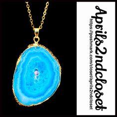 """Genuine 24K Druzy Pendant Necklace NEW WITH TAGS   Boho Genuine Druzy Pendant Natural Stone Statement Necklace  * Gorgeous organic stone  * Beautiful 24k gold plated pendant & chain  * Chain measures 18"""" long  * Stone approx 29mmX18mm  * Lobster clasp; Made in the USA  ***Each necklace is unique Item:97900 Material: 24K Gold plated brass, agate stone  Color: Aqua #  Pastel turquoise # jeweled non rhinestone glam No Trades ✅Offers Considered*/Bundle Discounts✅ *Please use the 'offer' button…"""