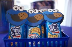 Sesame Street party favor - cookie packs with Cookie Monster on them. Sesame Street Birthday Party - Kara's Party Ideas - The Place for All Things Party Monster Party Favors, Cookie Monster Party, Monster Birthday Parties, Elmo Party, Elmo Birthday, First Birthday Parties, Birthday Ideas, Birthday Favors, Cupcake Party Favors