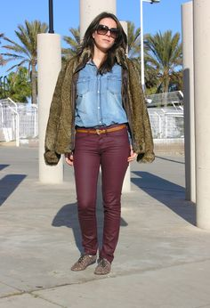 Burgundy  #fashion #style #outfit  #look , Blanco in Jackets, Stradivarius 2011 in Pants, Primark in Shirt / Blouses, Blanco in Oxfords / Derbies