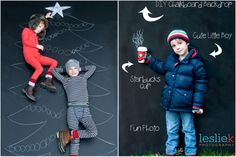 Our Most-Fun-Ever Holiday Photo Ideas Use chalkboard paint like Leslie Kerrigan did as a backdrop with tons of creative possibilities. Chalk Photography, Photography Backdrops, Portrait Photography, Photography Ideas, Toddler Photography, Christmas Photo Booth, Christmas Photo Cards, Christmas Photos, Christmas Backdrops