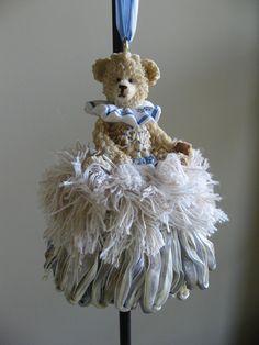 Teddy Bear in Blue and Ivory Decorative Handmade Tassel. $25.00, The Penny Tassel via Etsy.