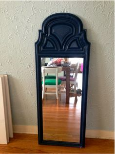 DIY navy spray painted thrifted mirror before & after (with tutorial!)