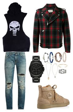 """Untitled #16"" by bashir-adekunle on Polyvore featuring Gucci, Yves Saint Laurent, Christian Louboutin, Michael Kors, Versace, Anchor & Crew, Marco Ta Moko, Le Gramme, A.P.C. and men's fashion"