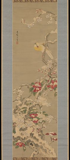 Bird among Camellias in Snow Sō Shiseki Period: Edo period Culture: Japan Chinese Prints, Chinese Art, Snow Japan, Snow Artist, Japanese Bird, Asian Artwork, Art Japonais, Korean Art, Japanese Painting