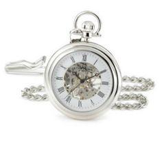 $139 Original Pocket Watch Men`s Vintage Time Clock Chain Skeleton Silver hand wind