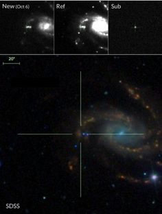 Galaxy NGC 7610, where scientists found a type II supernova. Top: Palomar 48-inch sequence of the new discovery image from 2013 Oct. 06. including a subtraction image highlighting the supernova flash. Bottom: The color Sloan Digital Sky Survey image. The supernova is located in a blue, star-forming area (the red point sources in the vicinity are foreground stars), which is apparently a part of one of the major arms of the spiral host.