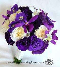 Auckland Wedding Flower Gallery 1: <br><strong>B066 - Purple and Ivory Bouquet</strong>