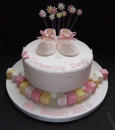 Single Tier Daisy Booties Christening Cake by Amanda's Cakes Mexborough, via Flickr