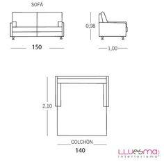 Sofá cama 2 Plazas Orly de ES Interiorismo. Puf cama y Sofas cama. Sofás cama 2 plazas