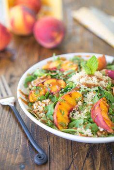 Peachy Quinoa and Arugula Salad Arugula Salad, Quinoa Salad, Salad Dressing Recipes, Salad Recipes, Roasted Butternut Squash Soup, Cranberry Salad, Vegetarian Recipes, Healthy Recipes, Grilled Peaches