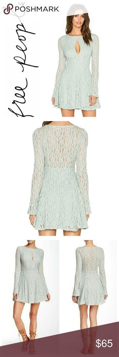 "🆕Free People keyhole lace dress Beautiful free.people dress in Foam Green with key hole in the front. Fit and flare A-line dress with a crew neckline. Sheer sleeves and back, partially lined.  *97% Nylon 3% spandex  *Approximately 31"" long Free People Dresses Mini"