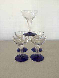Vintage Hollow Stem Glass Champagne Coupes - clear pressed glass with faceted stems & cobalt bases