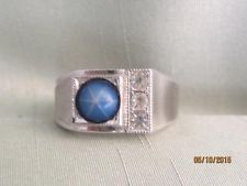 MEN'S VTG CLARK & COOMBS STERLING & FAUX BLUE STAR SAPPHIRE RING- SIZE 9.5 - #3
