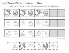 winter pattern printables - Pattern Worksheets Kindergarten Printable