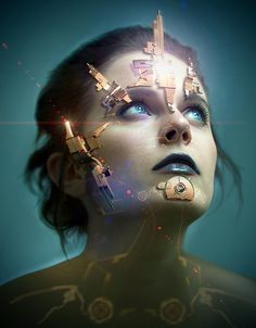 Awesome Digital Art by PiotrRusnarczyk. This is a interesting and unique piece. I like how the woman is looking into the distance. The lights on her forehead make her blue eyes pop. It looks like mechanically things are slowly taking over her body. The soft blue background is simple and makes her face pop. The colors are well chosen in this piece.
