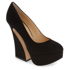 Women's Charlotte Olympia 'Millicent' Platform Pump (50.125 RUB) ❤ liked on Polyvore featuring shoes, pumps, black suede, almond toe platform pumps, block heel pumps, black block heel pumps, black platform shoes and almond toe pumps