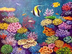 Coral Reef Acrylic Painting | Angela Anderson on Patreon Coral Reef Drawing, Coral Painting, Painting & Drawing, Watercolor Paintings, Acrylic Paintings, Acrylic Art, Underwater Painting, Canvas Painting Tutorials, Paint And Sip