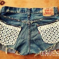 Levis Denim Shorts Lace Pockets