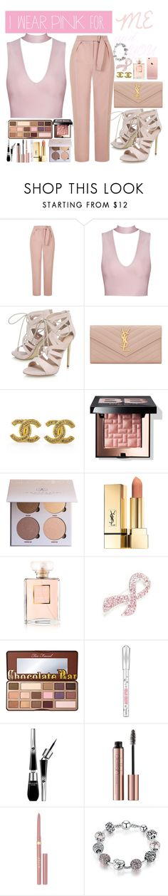 """""""I WEAR PINK FOR ME AND YOU """" by opheline1610 ❤ liked on Polyvore featuring Topshop, Carvela, Yves Saint Laurent, Chanel, Bobbi Brown Cosmetics, Anastasia Beverly Hills, Napier, Too Faced Cosmetics, Benefit and Lancôme"""