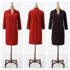 """Anthro 'FIREWARMED SHIFT DRESS' COLOR IS PLUM/PURPLE.       Crafted of the softest corduroy and fitted with front pockets to warm your fingers, this cozy frock from Odille will be your hearthside companion all winter long.  Cotton  Machine wash  37""""L Anthropologie Dresses"""