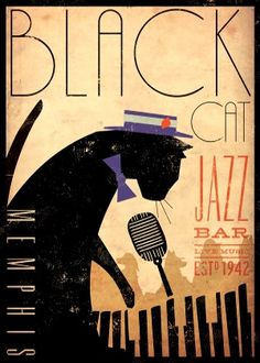 Black Cat Jazz Poster