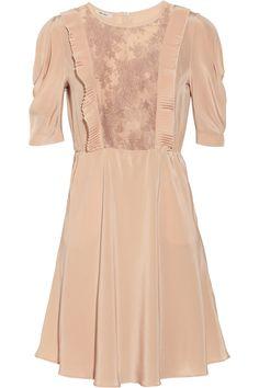 Miu Miu|Lace-insert silk crepe de chine dress|NET-A-PORTER.COM