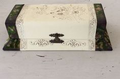This antique box has an embossed floral and rose design on its off-white celluloid exterior. Both sides of this antique dresser box have luxurious velvet tapestry on them. The tapestry is loose on one side as seen in the photos. | eBay!