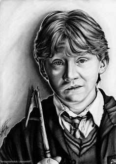 Very nice drawing of Ron Weasley Fantasia Harry Potter, Arte Do Harry Potter, Harry Potter Artwork, Harry Potter Drawings, Harry Potter Facts, Harry Potter Fan Art, Harry Potter Characters, Harry Potter Universal, Harry Potter World