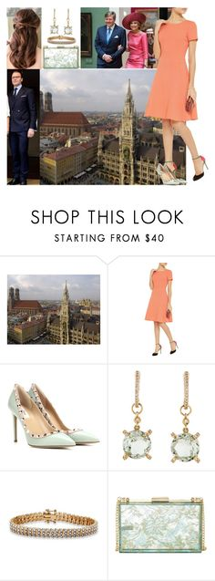 """Arriving in Munich with Daniel, attending meetings with Prince Daniel's fellowship and having a short meeting with her godfather King Willem-Alexander and Queen Máxima of the Netherlands who are visiting Bavaria"" by deborawinter ❤ liked on Polyvore featuring Oscar de la Renta, Valentino, Palm Beach Jewelry and Love Moschino"