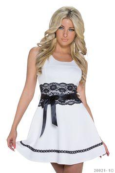 1010 ärmelloses Minikleid Spitze + Gürtel Party Kleid in 2 Farben 3 Größen  de.picclick.com