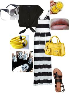 Black & White With a Pop of Yellow. Yes Please!, created by trin-cb on Polyvore