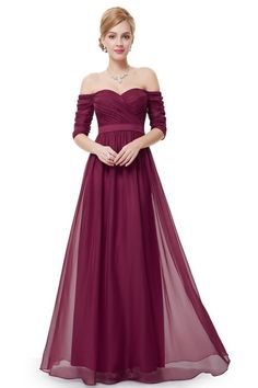 Long Prom Dress Burgundy Chiffon Party Dress Sweetheart Neckline Off The Shoulder A Line Half Sleeve Maxi Occasion Dress & Wedding > Occasion Dresses > Prom Dresses Sexy Long Dress, Sexy Evening Dress, Long Sleeve Evening Dresses, Half Sleeve Dresses, Half Sleeves, Purple Evening Gowns, Vintage Evening Gowns, Vintage Gowns, Dress Vintage