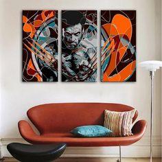 3 Panel Abstract Wolverine X-Men Framed Wall Canvas Art | Octo Treasures