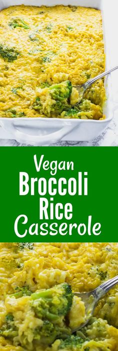 Vegan Broccoli Rice Casserole broccoli and brown rice smothered in creamy cheesy sauce and baked until golden It is so easy to prepare healthy and so tasty vegan gluten-free rice broccoli Rice Recipes For Dinner, Side Dish Recipes, Whole Food Recipes, Cooking Recipes, Pasta Recipes, Chicken Recipes, Potato Recipes, Crockpot Recipes, Soup Recipes