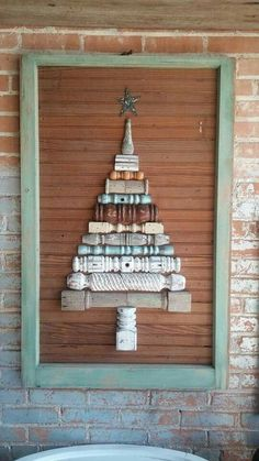 "I asked for something fun! ""Dude"" made it happen! Old spindles old breadboard & and old window frame = Christmas Art!!"