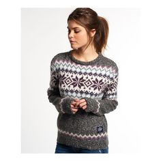 Superdry Fairisle Snowflake Jumper ($69) ❤ liked on Polyvore featuring tops, sweaters, grey, gray crewneck sweater, gray sweater, grey jumper, fair isle knit sweater and grey knit sweater