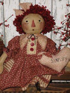Primitive Handcrafted Olde Raggedy Ann Doll*Folk Art Annie*Simplify Heart*Prim*
