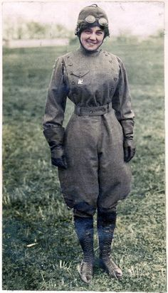 Matilde Moisant, 1911. Moisant was the second woman in the United States to receive a pilot's license. She flew in aviation meets throughout the US and Mexico until the early spring of 1912, often flying at higher altitudes than most male pilots. She is pictured here, wearing a (pre-WWII) swastika brooch as a good luck charm.
