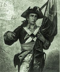 """Minuteman holding musket and flag. Cover illustration from Harper's Weekly, July 15, 1876. Wood engraving by Speer, """"from a picture by George W. Maynard, in Memorial Hall, Phila."""""""