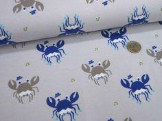 Baumwoll Stretchjersey Krabbe 126.281-3002 Hellgrau Blau